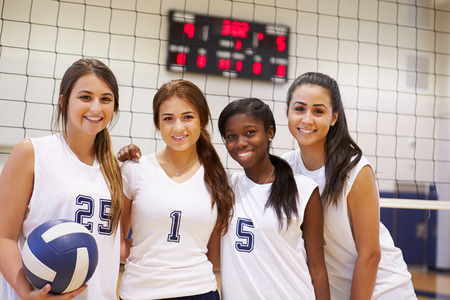 female volleyball: Members Of Female High School Volleyball Team