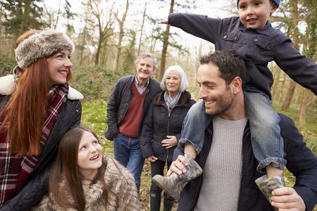 Multi Generation Family On Countryside Walk Banco de Imagens