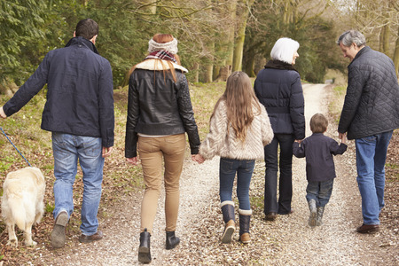 multi generation: Rear View Of Multi Generation Family On Countryside Walk