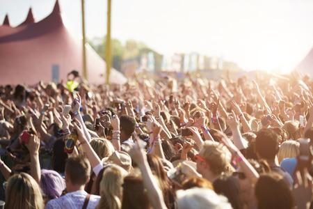 Audience At Outdoor Music Festival Standard-Bild