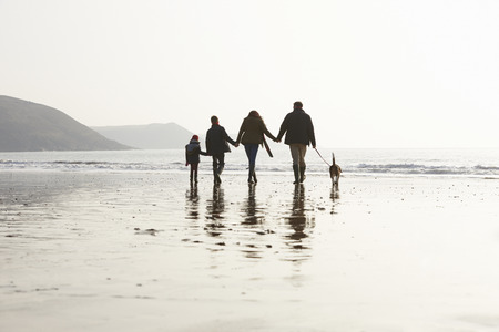 Rear View Of Family Walking Along Winter Beach With Dog Stockfoto