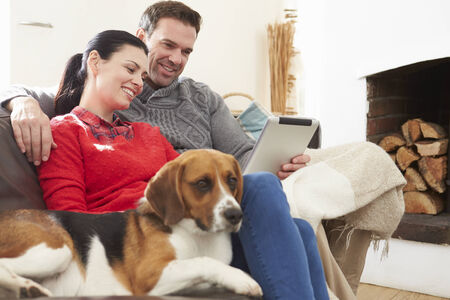 Couple At Home With Pet Dog Looking At Digital Tablet photo