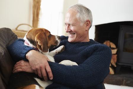 an elderly person: Hombre mayor que se relaja en el pa�s con perro de mascota Foto de archivo