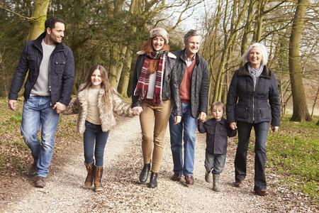 multi generation family: Multi Generation Family On Countryside Walk Stock Photo