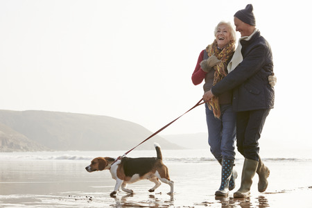 scarf beach: Senior pareja caminando por la playa del invierno con perro de mascota