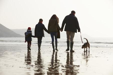 Rückansicht der Familie zu Fuß entlang Winter-Strand mit Hund Standard-Bild - 33526238