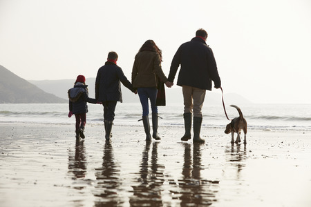 Rear View Of Family Walking Along Winter Beach With Dog Archivio Fotografico