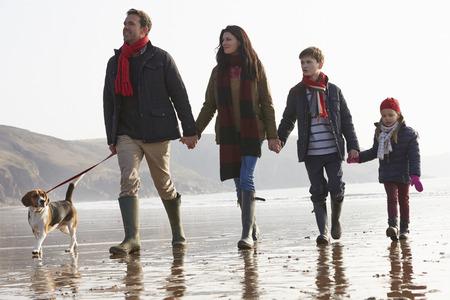 ni�os caminando: Vista posterior de la familia que recorre a lo largo de la playa de invierno con el perro