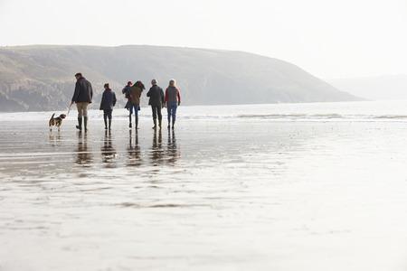 Více generace rodiny Chůze na zimní pláži se psem