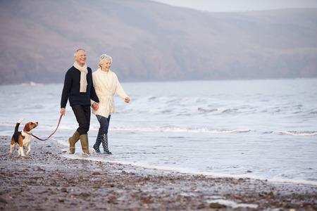 pasear: Senior pareja caminando por la playa del invierno con perro de mascota