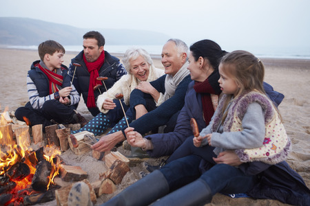 Multi Generation Family Having Barbeque On Winter Beach photo