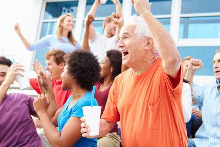 sports venue: Spectators Cheering At Outdoor Sports Event Stock Photo