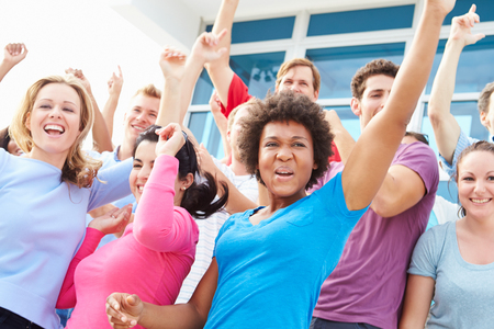cheering fans: Audience Dancing At Outdoor Concert Performance Stock Photo