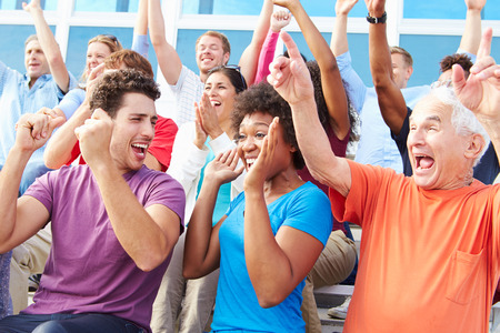 cheer: Audience Cheering At Outdoor Concert Performance Stock Photo