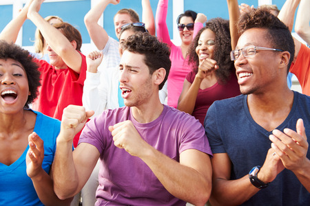 sports fans: Audience Cheering At Outdoor Concert Performance Stock Photo