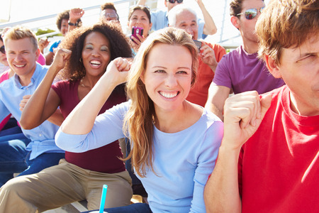 crowd cheering: Audience Cheering At Outdoor Concert Performance Stock Photo