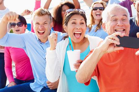 Audience Cheering At Outdoor Concert Performance Imagens