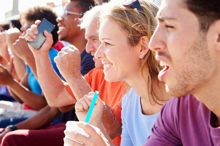 sports venue: Audience Cheering At Outdoor Concert Performance Stock Photo