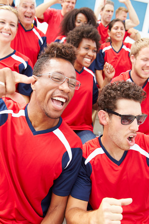 crowd cheering: Spectators In Team Colors Watching Sports Event