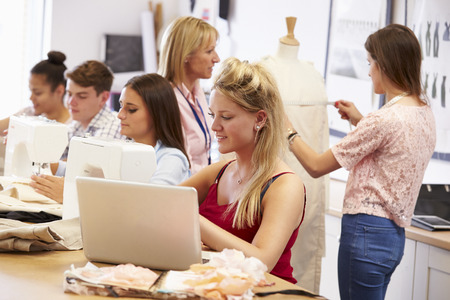 College Students Studying Fashion And Design Imagens