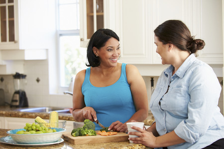 preparing food: Two Overweight Women On Diet Preparing Vegetables in Kitchen Stock Photo