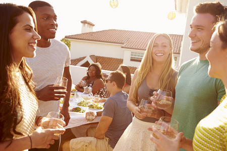 party food: Group Of Young People Enjoying Outdoor Summer Meal Stock Photo
