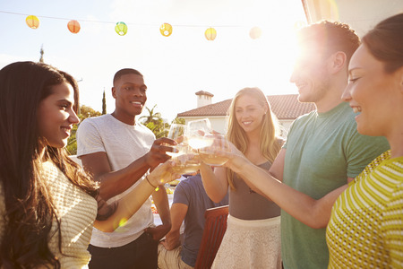 multi racial groups: Group Of Young People Enjoying Outdoor Summer Meal Stock Photo