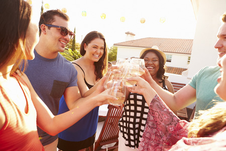 friends party: Group Of Young People Enjoying Outdoor Summer Meal Stock Photo
