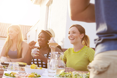 bbq: Group Of Young People Enjoying Outdoor Summer Meal Stock Photo