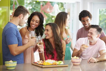 tomando vino: Grupo de amigos que disfrutan de bebidas fiesta en casa