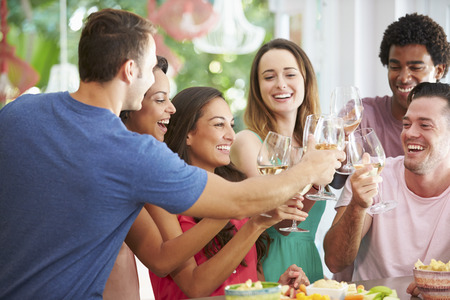Group Of Friends Enjoying Drinks Party At Home photo
