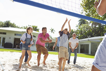 family garden: Multi Generation Family Playing Volleyball In Garden