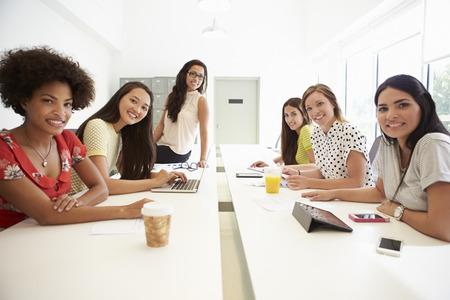 Portrait Of Women Working Together In Design Studio Stock Photo