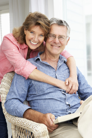 woman relax: Senior couple relaxing at home