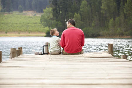Otec a syn rybaření Reklamní fotografie