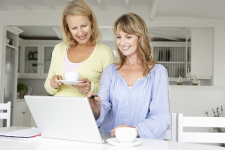 mid age: Mid age women using laptop at home Stock Photo