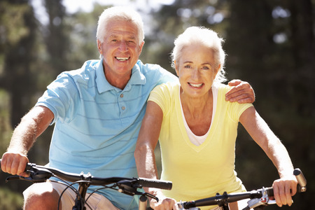 retired couple: Senior couple on bicycles