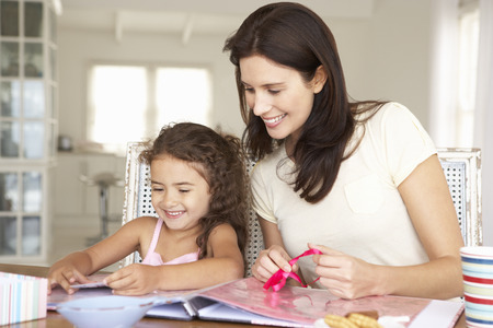 crafting: Mother and daughter scrapbooking