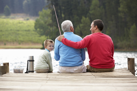 Father, son and grandfather fishing Stock Photo - 33552293