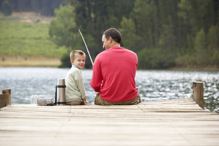 5 year old: Father and son fishing Stock Photo