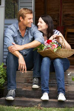 veranda: Couple sitting  on veranda
