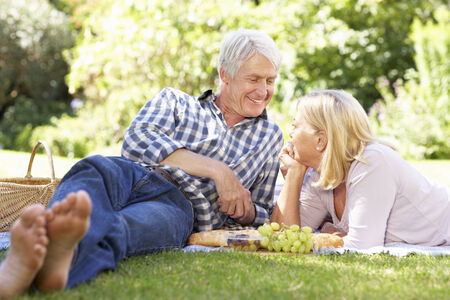 50s adult: Senior couple with picnic in park Stock Photo
