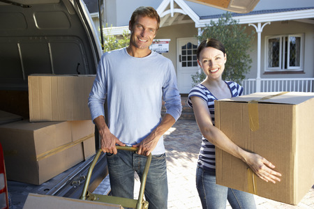 moving truck: Couple moving house Stock Photo