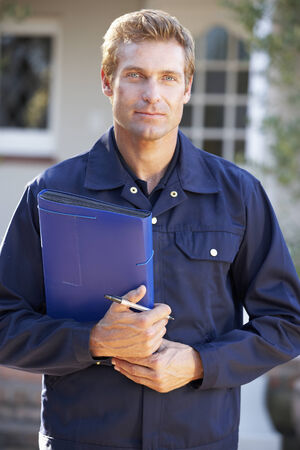 utility: Man in overalls holding folder