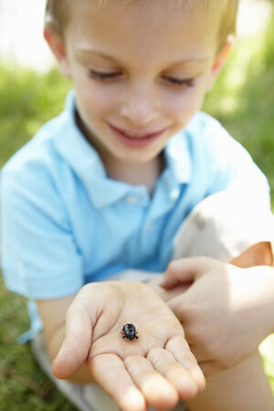 fascination: Young boy with beetle Stock Photo