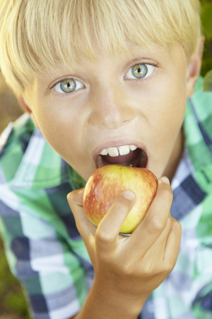 biting: Young boy eating apple