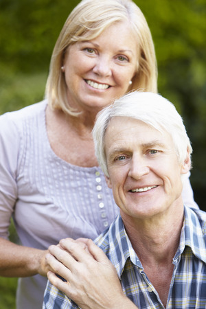 Senior couple in garden photo