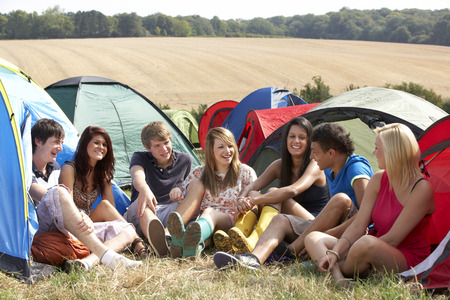 group of young adults: Young people on camping trip