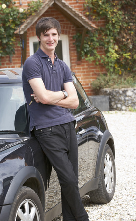 boy 18 year old: Young man with car