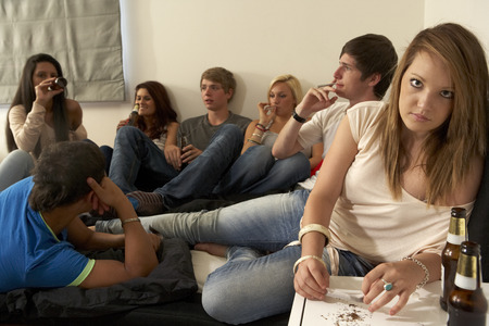 Teenagers drinking and smoking